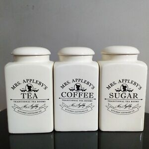 Glossy-cream-kitchen-storage-jars-set-of-3-tea-sugar-coffee-canister-pot-jars