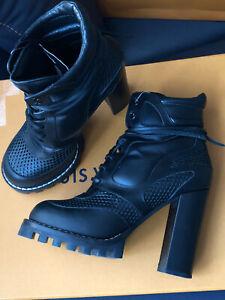 LOUIS-VUITTON-Digital-Gate-Boots-Stiefelette-Gr-38-Schwarz-Schuhe-Star-Trail