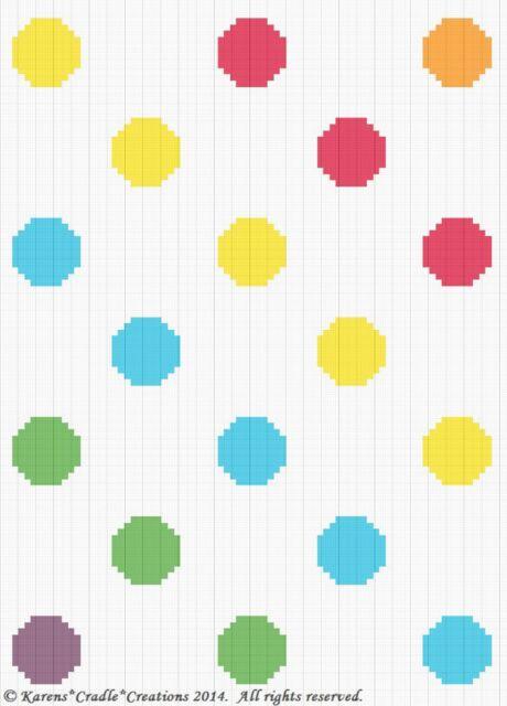 Crochet Patterns - POLKA DOTS - PRIMARY COLORS SCRAP YARN Graph Pattern/Chart
