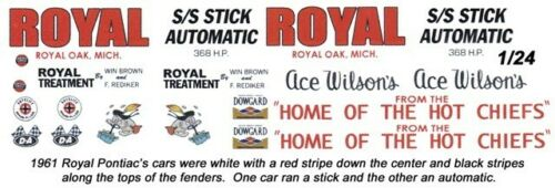 Ace Wilson/'s Royal Pontiac/'s 1961 1//25th 1//24th Scale Waterslide Decals