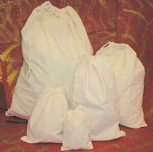 UNPRINTED-unbleached-eco-cotton-PRESENT-SACK-or-GIFT-BAG-rope-DRAWSTRING-5-sizes