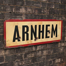 WW2 ARNHEM ROAD SIGN - French Repro Army Wall Plaque - Military - Steel  Aged