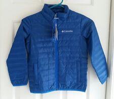 NWT COLUMBIA Boys Wood Creek Down Jacket BLUE Lightweight Puffer Coat XS 6 7
