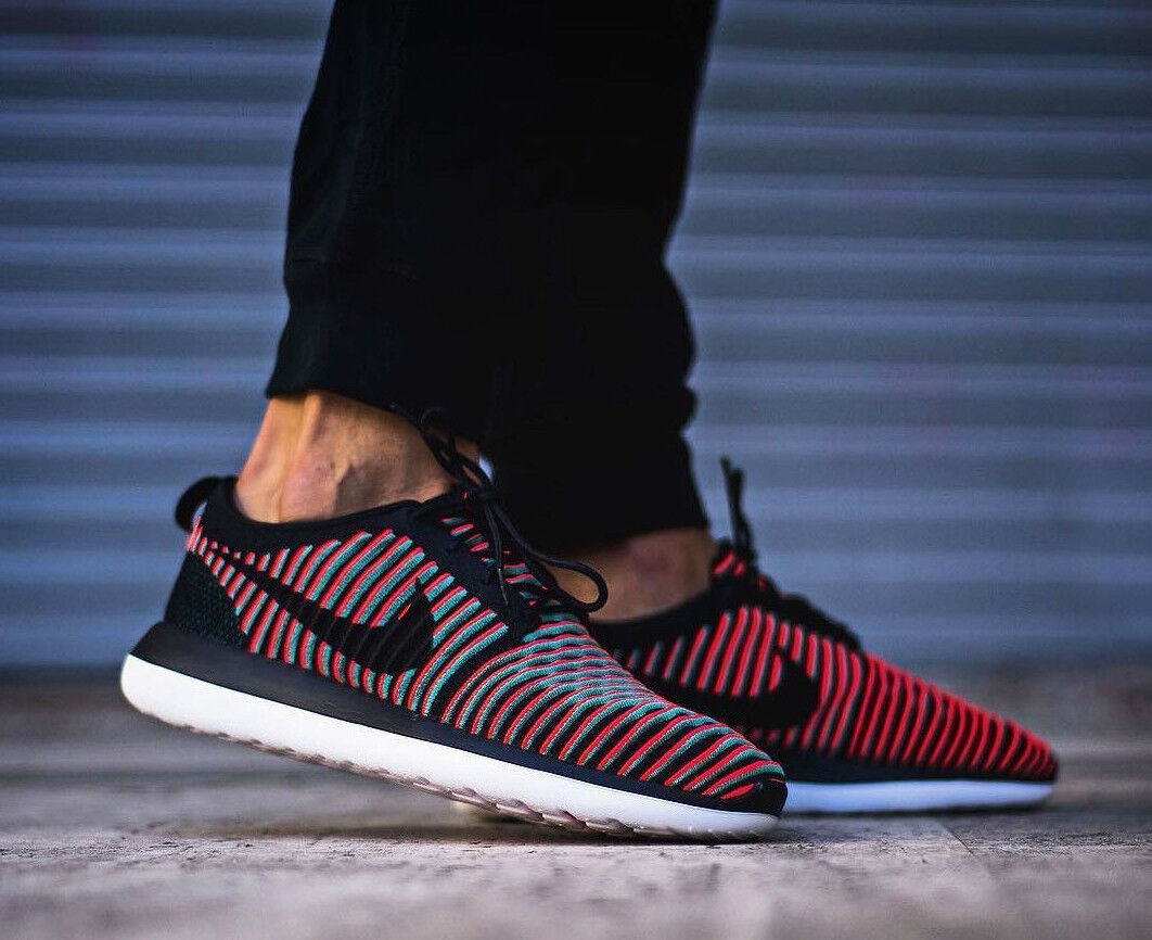 NIKE ROSHE Crimson TWO FLYKNIT Running Trainers Gym Casual Negro Crimson ROSHE - Various Talla 6c3afd