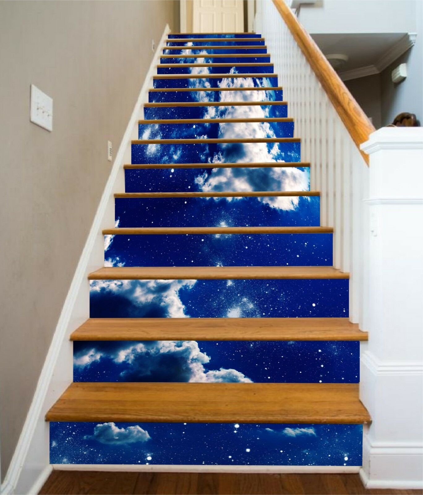 3D Bule Sky Clouds Stair Risers Decoration Photo Mural Vinyl Decal Wallpaper US