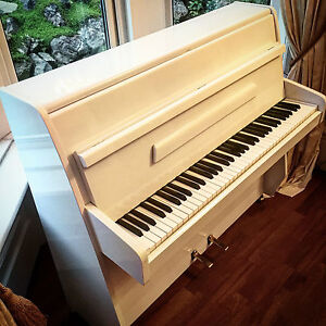 Stunning-Small-White-Gloss-Upright-Piano-Completely-Renewed-Includes-Delivery