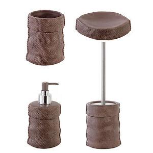 Set accessori bagno da appoggio in ceramica tortora e - Accessori bagno inox ...