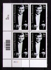 Ee. Uu. Ee.uu. Sc# 3521 MNH FVF Pl # Bloque Leonard Bernstein Conductor Música