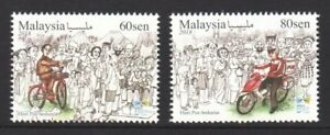 MALAYSIA-2018-WORLD-POST-DAY-POSTMAN-BIKE-amp-BICYCLE-COMP-SET-OF-2-STAMPS-MINT