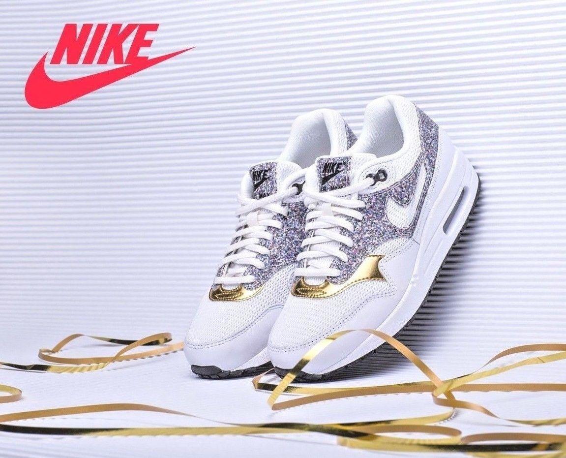 Nike Air Max 1 SE Sz 7.5 Women's Running Training shoes  Black gold 881101 100