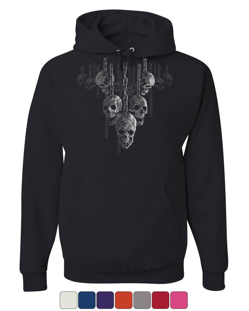 Skulls Hanging on Chains Hoodie Death Creepy Scary Hell Devil Sweatshirt