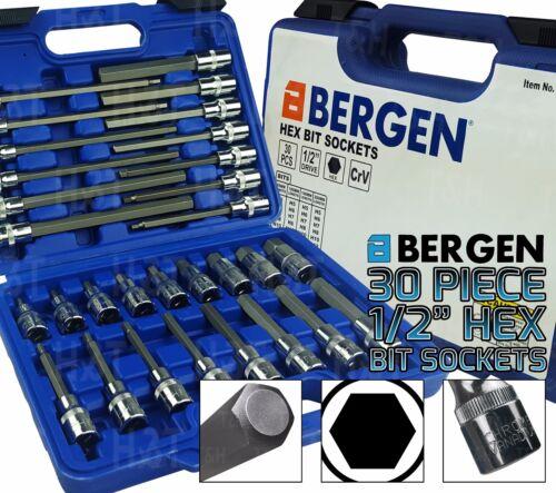 "BERGEN Extra Long 30pc HEX BIT Socket Set 1//2/"" Dr HEX Allen Keys Sockets 200mm L"