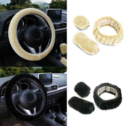 3Pcs//Set Plush Fur Soft Steering Wheel Cover Handbrake P4S2 Warmer Lever Ca U5V6