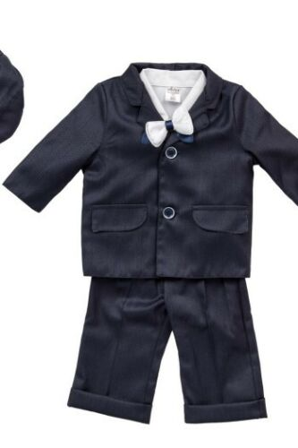 Baby Boy Navy Outfit Smart Suit Bow Hat Waistcoat Wedding Christening Page Boy