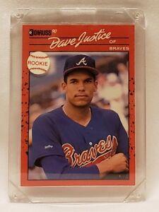 1990-Donruss-704-David-Justice-Atlanta-Braves-RC-Rookie-Baseball-Card-NM-M