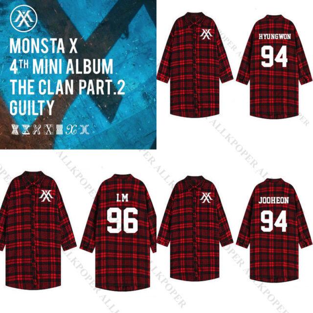 Kpop Monsta X al clan parte .2 culpable manga de tres cuartos rojo a cuadros blusa camisa