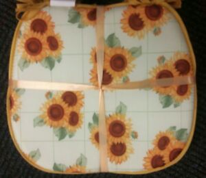 "Set of 4 CHAIR PADS CUSHIONS w/strings, 15"" x 15"", SUNFLOWERS TRIPLETS # 2 by BH"