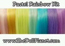 Pastel Rainbow Nylon Doll Hair Colors Doll Reroot Kit 7 Hanks Custom Dolls Pony