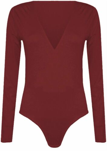 New Womens Long Sleeve Plunge Neck Leotard Bodysuit 8-22