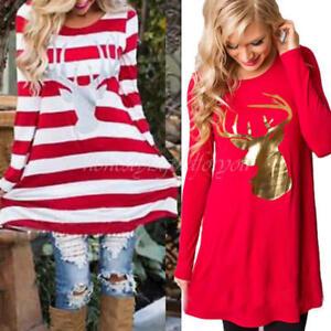 Fashion-Christmas-Deer-Printed-Women-039-s-Long-Sleeve-Shirt-Tops-Casual-Blouse-Gift