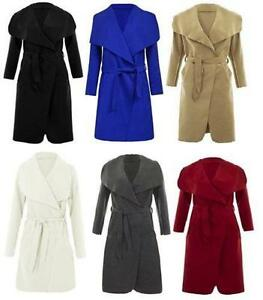 Nouveau-Femme-pleine-manches-Open-Front-Belted-italien-Trench-Duster-Coat