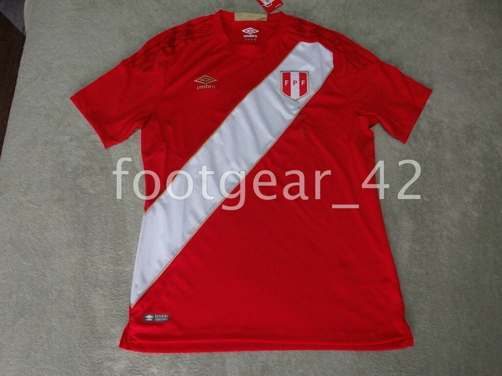 nuovo Official Umbro Authentic Peru Away Jersey Soccer 2018 Russia WC Shirt rosso
