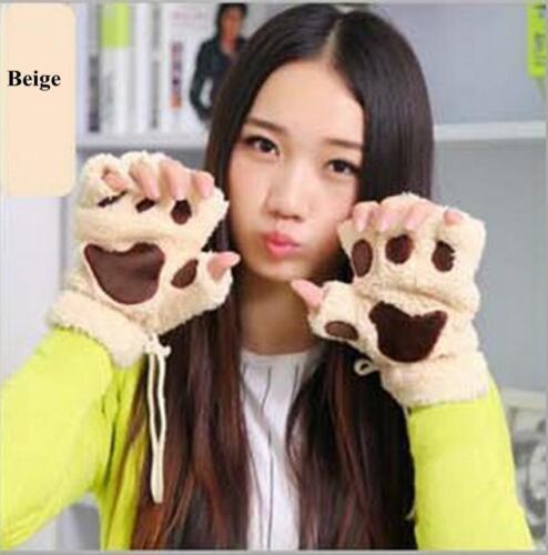 Good Warm Girls Bear Paw Mittens Furry Fuzzy Thicking Half Finger Gloves Winter