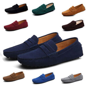 New-Men-Minimalism-Driving-Loafers-Suede-Leather-Moccasins-Slip-On-Penny-Shoes