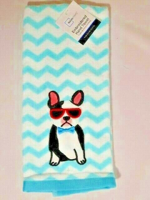 French Bulldog Embroidered Kitchen Hand Towel Blue White Dog Canine Decor NWT