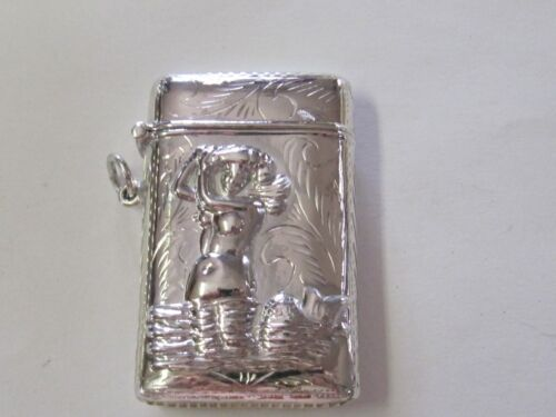 NEW MERMAID DESIGN WITH ETCHING STERLING SILVER MATCH SAFE// VESTA
