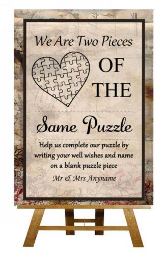 Poster Vintage chic Puzzle Livre d/'or personnalisé MARIAGE SIGNE