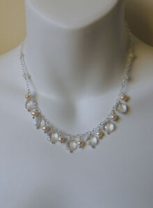 Handmade Pearl Quartz Crystal Necklace Sterling Silver Jewelry