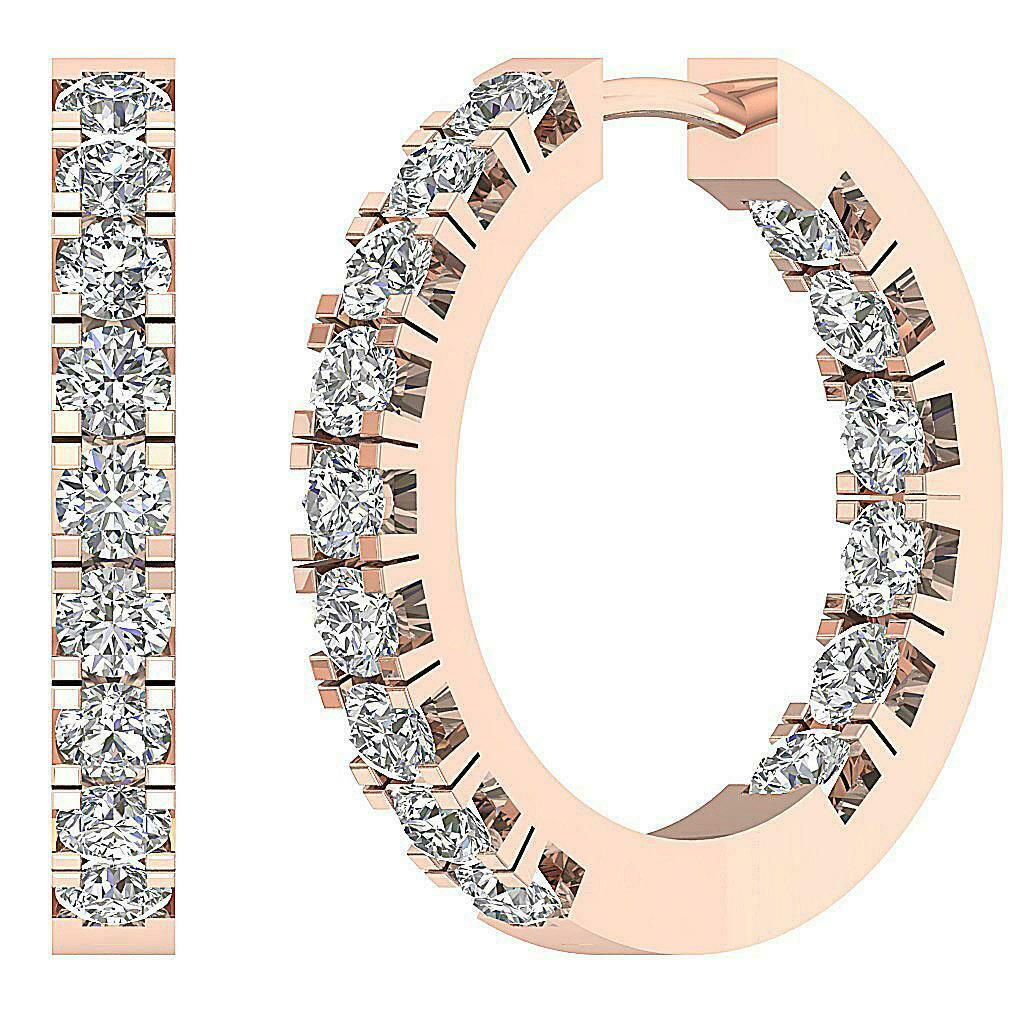 Hoops Earring VS1 E 1.60 Ct Inside Outside Genuine Diamond pink gold Appraisal