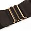 thumbnail 3 - Women Wide Elastic Stretch Waist Belt Gold Bucket Black Belt Wide Waist Belt