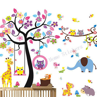 Combo Wall Stickers Lovely Owls Safari Animals Childrens Room Removable Wall Art