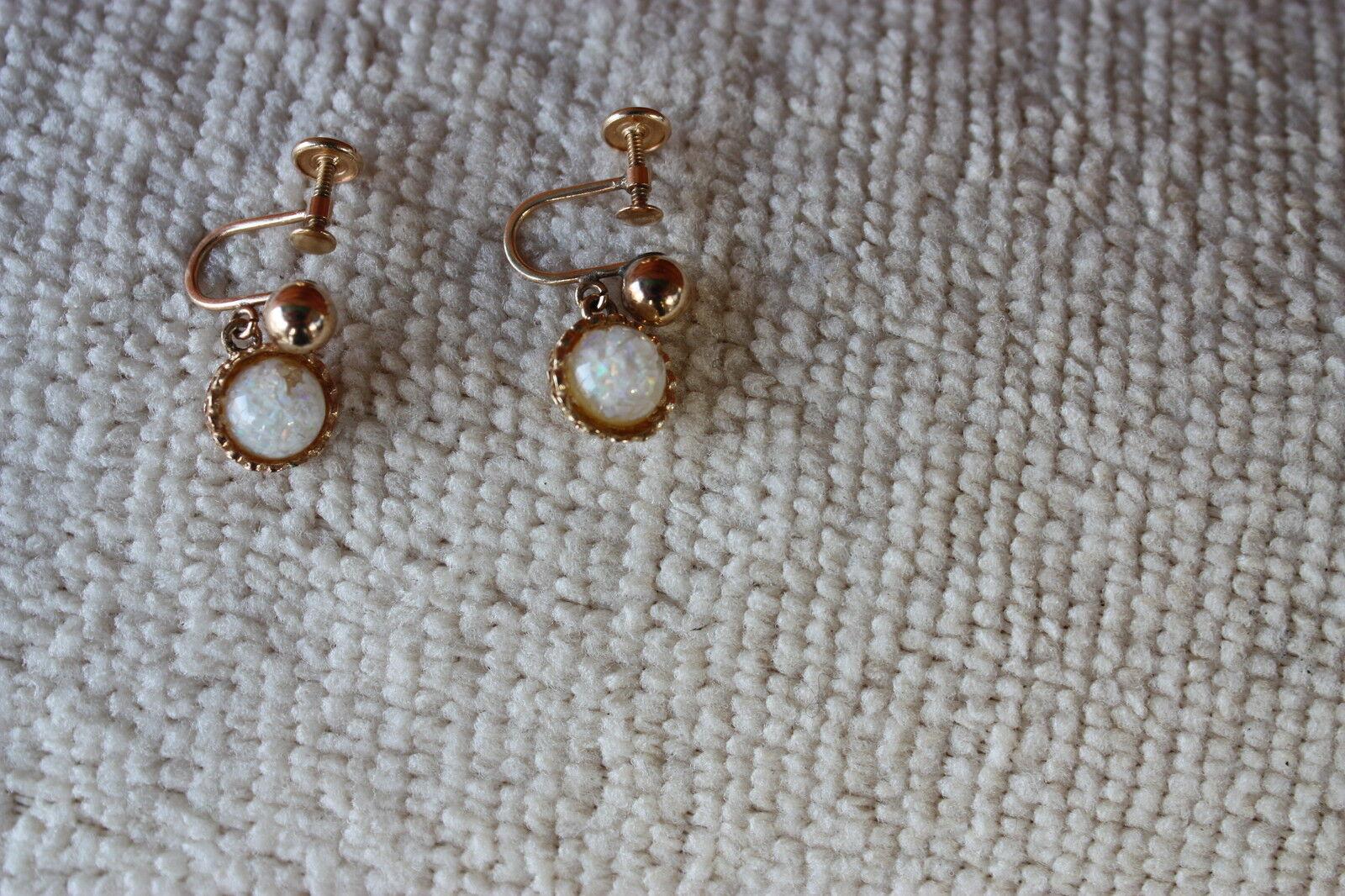 VTG 14k GOLD  Opal Clip on   EARRINGS - image 1