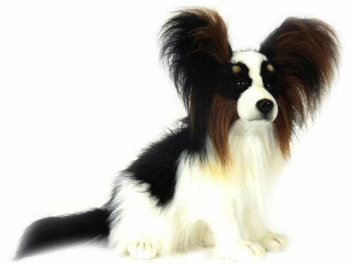 HANSA  Plush Papillon #3994 Black Spitz White Dog 16 Inches Brown
