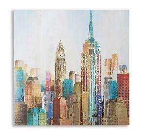 PANNELLO QUADRO SOGGIORNO NEW YORK OLIO SU TELA SALOTTO LOCALI | eBay