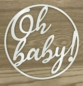 Wooden-sign-hoop-ring-with-white-melamine-coating-Oh-baby