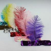 Trendy Feather Hairband Headband Dress Dancing Party Flapper Sequin Headwear D24