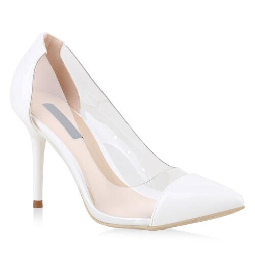 Damen Pumps Spitze Pumps Lack Transparent Stiletto High Heels 896963 Top