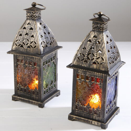 MOROCCAN TEA LIGHT HOLDER CANDLE ANTIQUE BRONZE HOME DINING ROOM KITCHEN GARDEN
