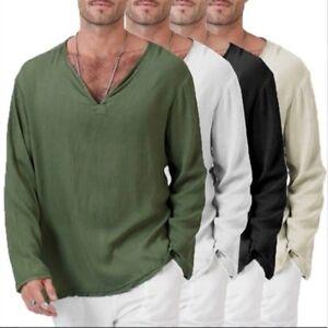 Hombres-Algodon-Lino-Camiseta-Top-Informal-Mangas-Largas-Camiseta-Blusa-Delgada-Retro-Etnico-Nuevo