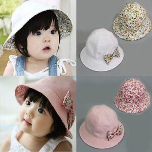 Newborn Baby Girls Kids Summer Princess Infant Flower Sun Cap Cotton ... a26cf6263fb