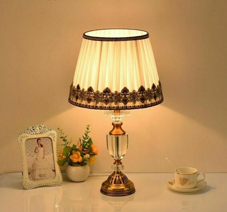 Crystal Table Lamp Lights Classic Indoor Home Bedside Study Glass Tall Lightings
