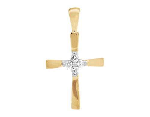 10K Yellow Gold Cross Round-Cut Genuine Diamond 3//4 Inch Pendant Charm 0.05ct.