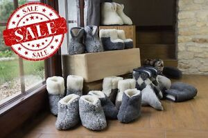 COZY-FOOT-HIGH-SLIPPERS-Natural-Sheep-Wool-BOOTS-Mens-Womens-Non-Slip-Sole-SALE