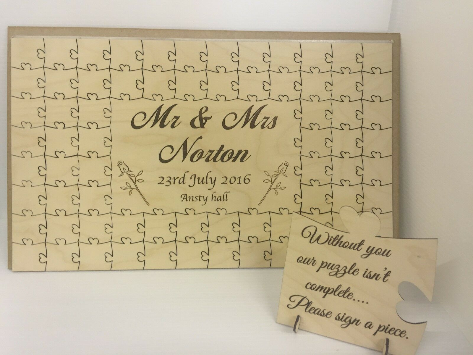 Personalised wooden wedding pink place name guest book jigsaw puzzle keepsake