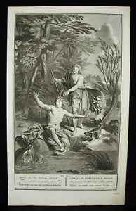 Antik-Biblische-Radierung-Tobias-amp-der-Poisson-Gravur-1728-B-Picart-Buisen