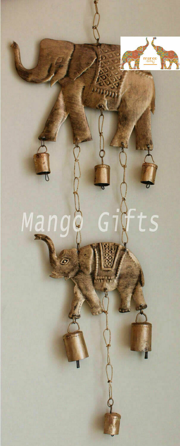 Recycled Iron Indian Elephant Bell Windchime Wall Hanging Indoor Patio Decor 2Pc